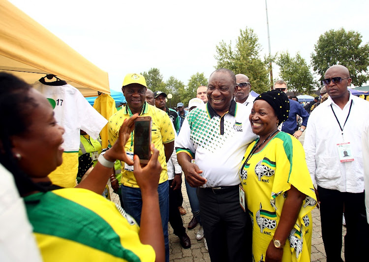 Newly elected ANC President, Cyril Ramaphosa takes a picture during a walk about on the sidelines of the 54th ANC National Elective Conference held at Nasrec. Picture: MASI LOSI