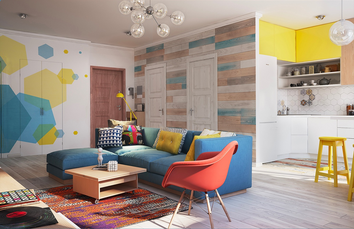Kết hợp đa màu sắc trong phòng khách