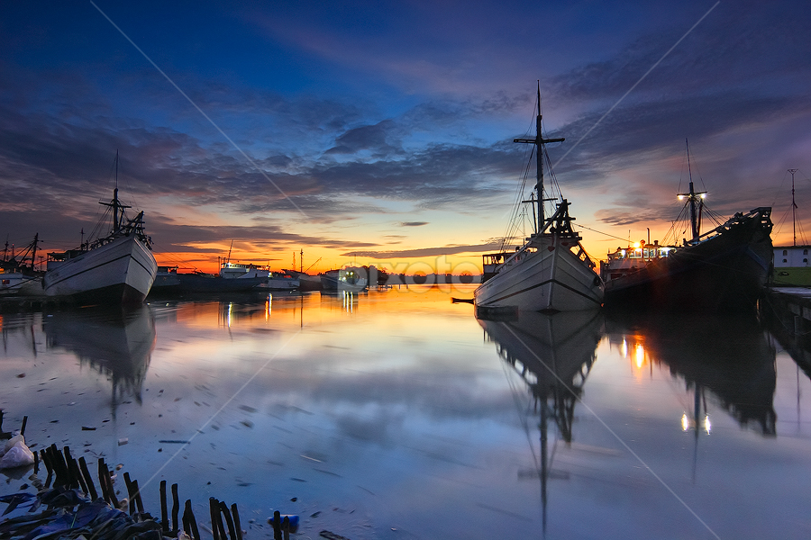 by Imansyah Putra - Transportation Boats ( billiton, harbour, reflections, morning,  )