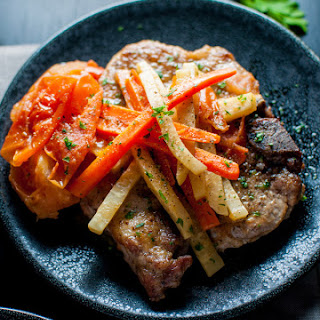 Pork Chops With White Wine, Carrots and Celeriac (Czech Pork Chops Bzenec Style).