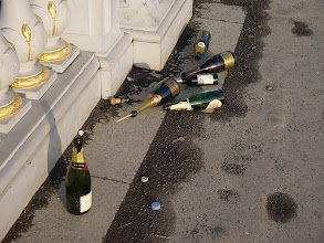 Photo: Since New Year's Eve was a Saturday night, there are still remnants – soon to be gone – of the celebration on Monday morning, even on the elegant Pont D'Alma.