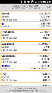 NiceHash Statistic - náhled