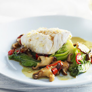 Steamed Fish with Bok Choy and Mushrooms.