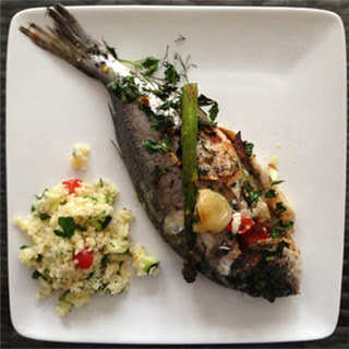 Baked Whole Sea Bream with Asparagus