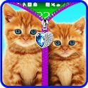 Cats lock screen. Zipper. icon