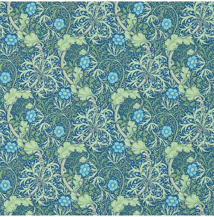 Morris Seaweed Tapet - cobalt/thyme