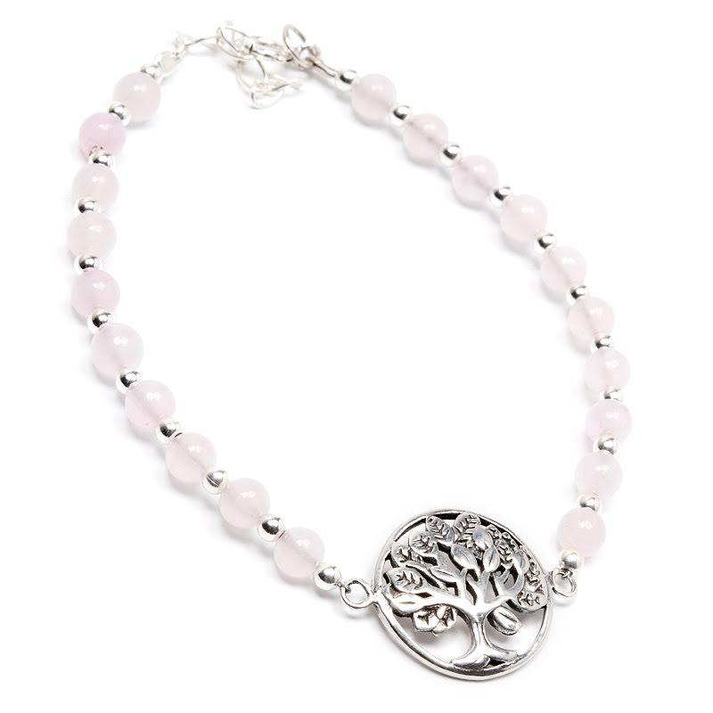 Rosenkvarts, armband med silverpärlor och Livets Träd