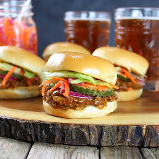 Asian Sloppy Joes with Pickled Carrots & Onions.