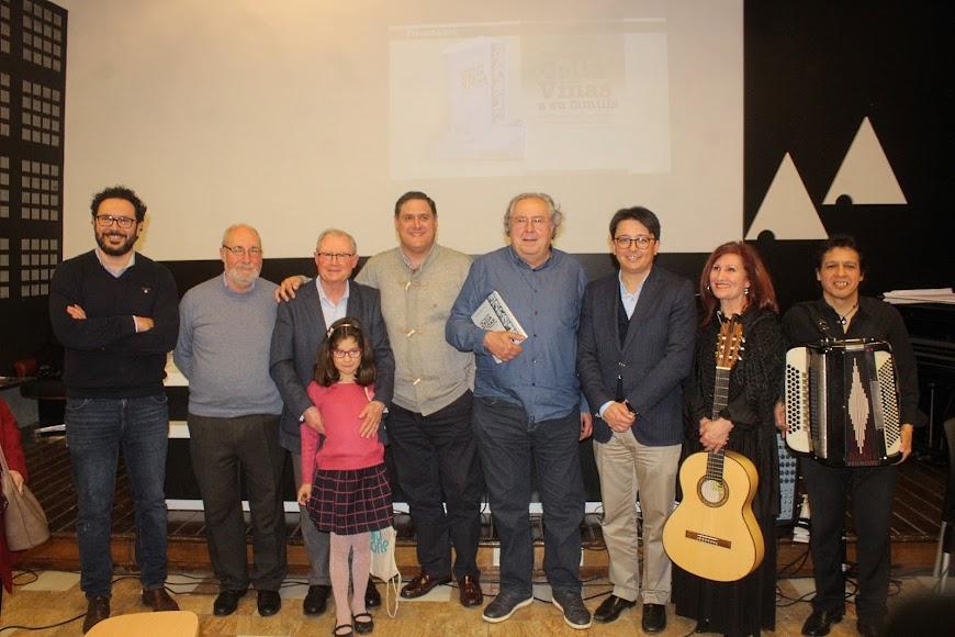 Presentadores y autor del libro de las Cartas de Celia Viñas a su familia, con Sensi Falán y Chochi Duré.