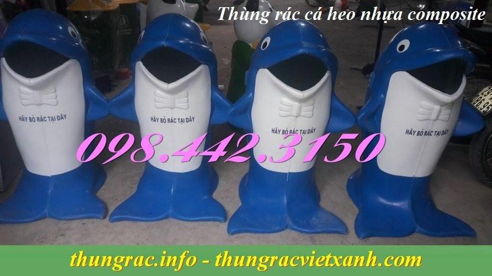 Thùng rác cá heo nhựa composite