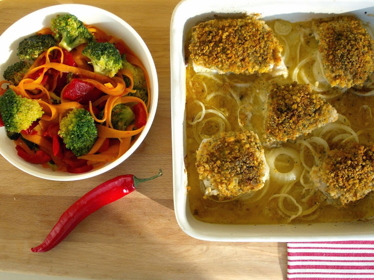 Ling Medallions with Corn Bread and Spicy SautéEd Vegetables Recipe