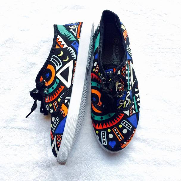 African-inspired tribal-print sneakers from MbalEnhleSis.