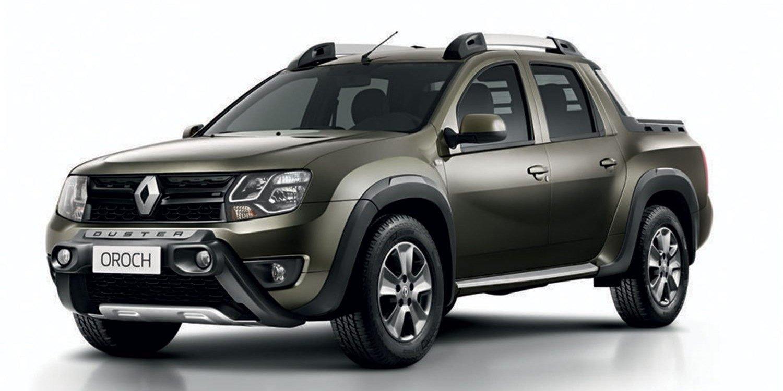 Renault Duster Oroch 2018 marrom vista da dianteira e lateral