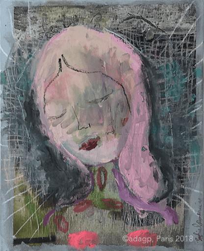 des-bisous-madone-portrait-sophie-lormeau-artiste-peintre-art-contemporain-singulier-figuratif-acrylique-crayon-sur-papier-magazine-sur-toile-mixed-media-lips-kiss-femme-pink-rose-canvas