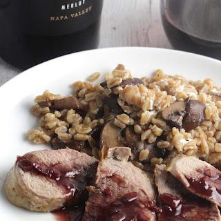 Pork Tenderloin with Blackberry Merlot Sauce.