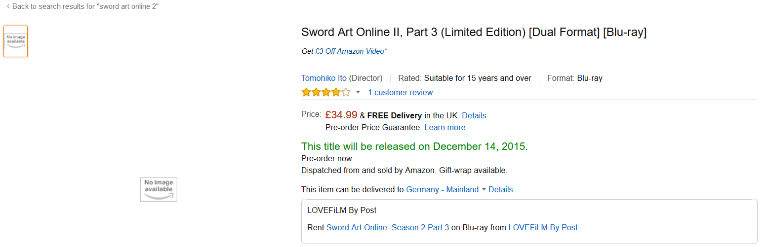 Sword Art Online UK Import