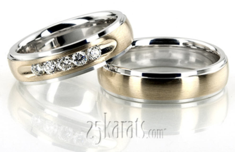 dome diamond wedding ring set