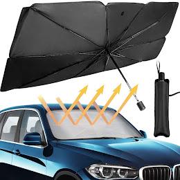 Parasolar pliabil tip umbrela pentru parbrizul masinii