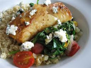 Greek Tilapia Over Wilted Spinach Recipe