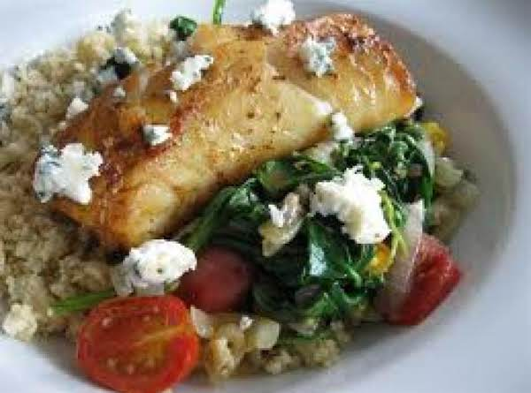Greek Tilapia Over Wilted Spinach