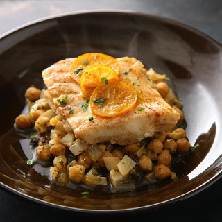 Steamed Fish with Chickpeas and Currants.