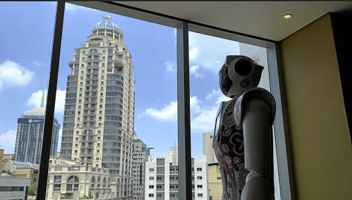 Micah, Lexi and Ariel are robots designed to help with tasks at Hotel Sky in Sandton, Johannesburg.