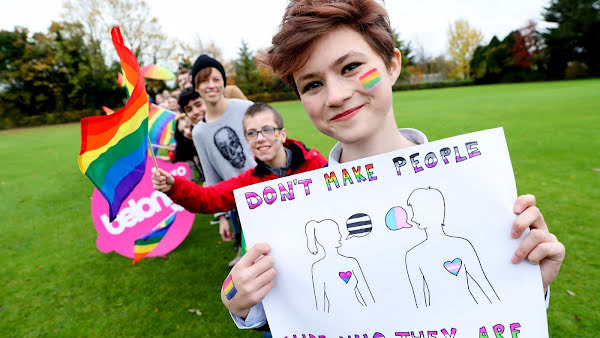 Young people showing their support for Belong To and it's work with the LGBTI+ community