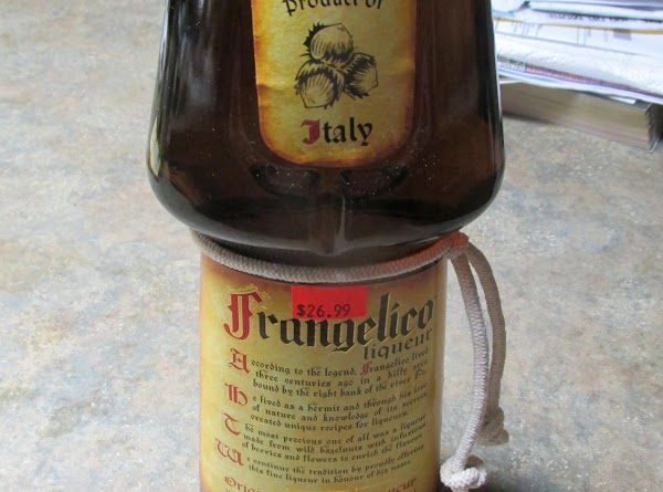 In a separate cup or bowl add the Frangelico and evaporated milk together.