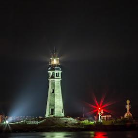 Lighthouse ~ Buffalo, NY by John Witt - Buildings & Architecture Public & Historical ( buffalo ny, aid to navigation, lighthouse, reflections, lake erie )