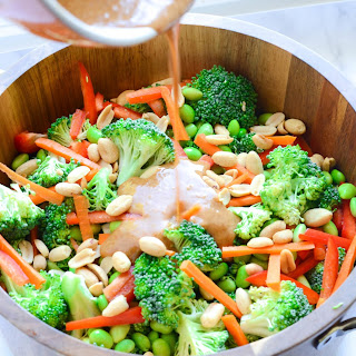 Thai Broccoli Salad With Spicy Almond Dressing.