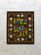 Photo: Shell/Floral - Diane Echnoz Almeyda - Miniature Stained Glass Window using Plique-à-Jour Enamel Technique - Approximately 47mm x 56mm - Oxidized Sterling Silver, Plique-à-Jour Enamels - $600.00 US - (One of a Pair - Sold Individually)