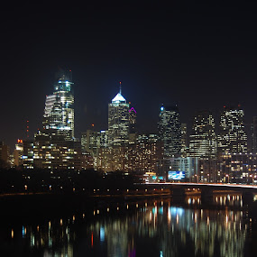 Philadelphia Skyline by Dan Allard - City,  Street & Park  Skylines ( lights, skyline, reflection, coastal city, philly, philadelphia, bridge, pwcskylines, city )