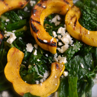 Grilled Delicata Squash with Kale.