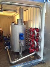 Photo: Mengvat voor kalk en warmtewisselaar voor het hygiëniseren van digestaat nij MNO Onstwede