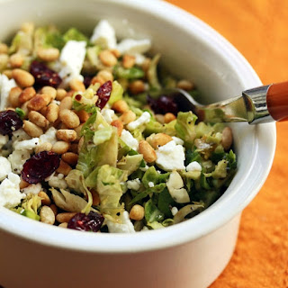 Raw Shaved Brussels Sprouts with Dried Cranberries, Feta and Pine Nuts {Vegetarian, Gluten-Free} Recipe