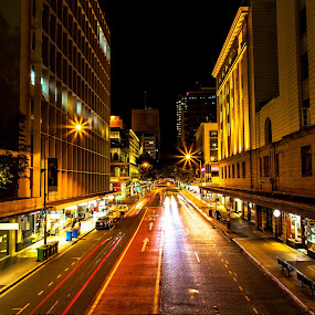 In the Street of Adelaide by Ellen Foulds - City,  Street & Park  Street Scenes ( buildings, adelaide street, street scene, landscape, nightscape )