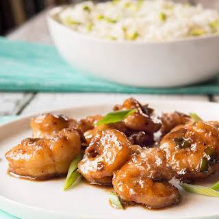 Bourbon-Glazed Shrimp.