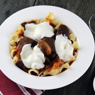 Pasta with Italian Sausage, Meatball, Mushroom and Red Wine Tomato Sauce
