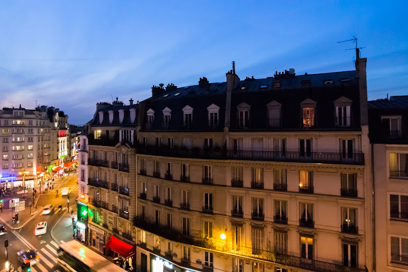 Photo: Evening on Rue LafayetteThe view from our room at Hotel Albert 1er on our first night in Paris