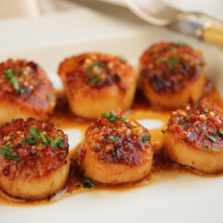 Grilled Scallops with Red Yuzu Kosho Vinaigrette