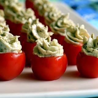 Cheesy Pesto Stuffed Tomatoes.