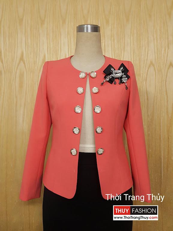 Áo vest nữ công sở cổ tròn hai hàng cúc V503 Thời Trang Thủy