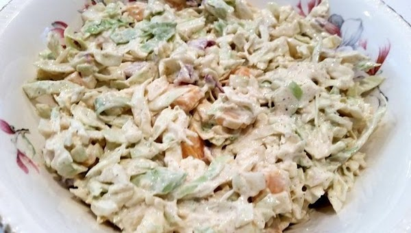 Pour the dressing over the veggies and toss well to coat. serve immediately ...
