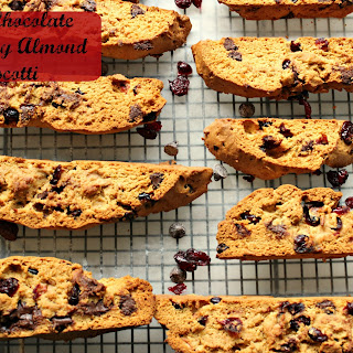 Gluten Free Dark Chocolate Cranberry Almond Biscotti