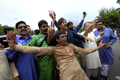 Opponents of Pakistan's Prime Minister Nawaz Sharif react after the Supreme Court's decision to disqualify Sharif, in Islamabad, Pakistan, on July 28 2017. Picture: REUTERS/FAISAL MAHMOOD