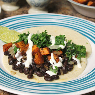 Roasted Sweet Potato Tacos with Black Beans and Kale Ceviche