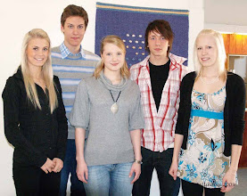 Photo: Kauppaneuvos Kalle Kaiharin yleisurheilustipendien saajat: Lotta Harala, Tommi Vilkko, Suvi Liimatainen, Eetu Ehrola ja Elisa Oksanen