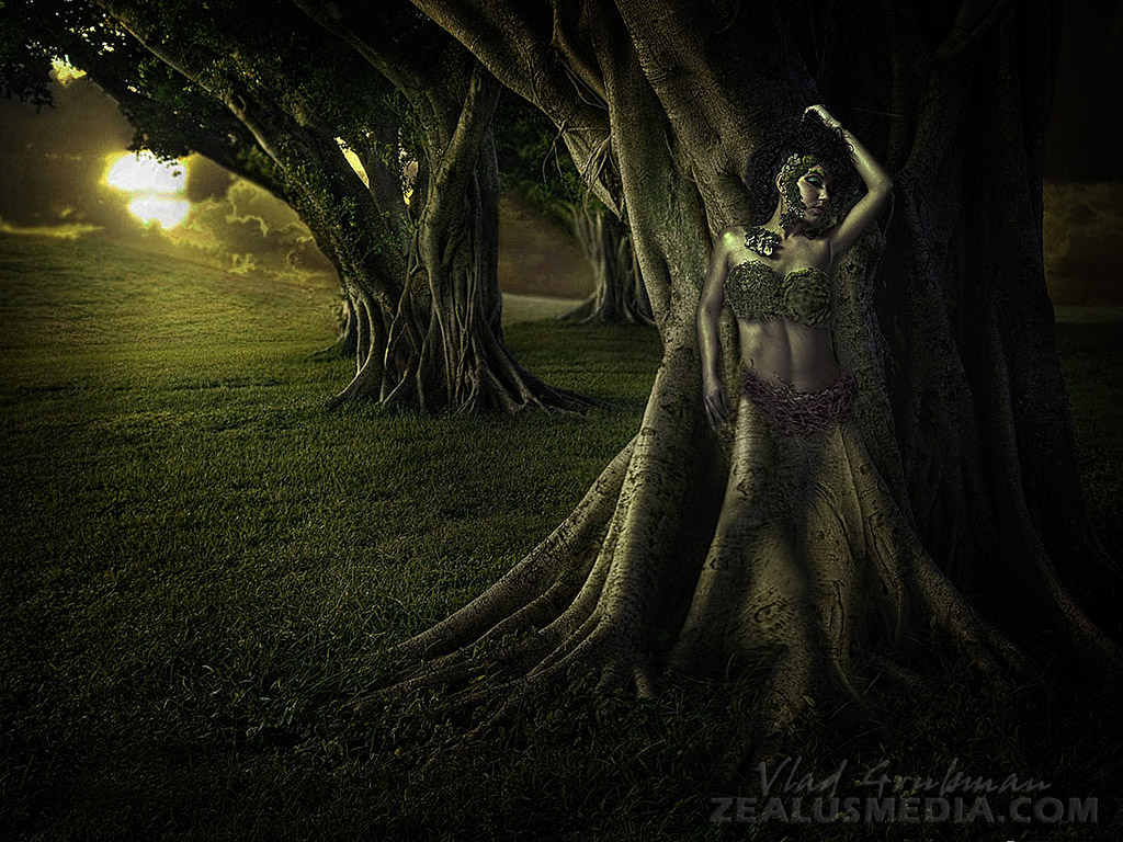 Druid In A Forest - creative concept, editing and model photography by Vlad Grubman, Zealusmedia.com