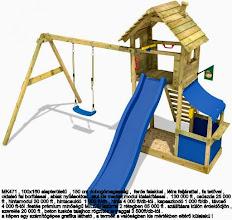 Photo: MK471 , 100x160 alapterületű  , 150 cm dobogómagasság ,  ferde falakkal , létra feljárattal , fa tetővel ,  oldalsó fal borítással , ablak nyílásokkal . alul kis market modul kialakítással .  130 000 ft , csúszda 25 000  ft , hintamodul 30 000 ft , hintacsukló  1 000 ft/db , hinta 4 000 ft/db-tól , kapaszkodó 1 000 ft/db , távcső  4 000 ft-tól .festés prémium minőségű MILESI lazúrral 2 rétegben 65 000 ft . szállításra külön érdeklődjön ,  szerelés 20 000 ft , beton tuskós talajhoz rögzítés anyaggal 3 500ft/db-tól . a képen egy számítógépes grafika látható , a termék a valóságban kis mértékben eltérő külalakú !