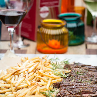 Skirt Steak with Truffle Oil Parmesan Fries.
